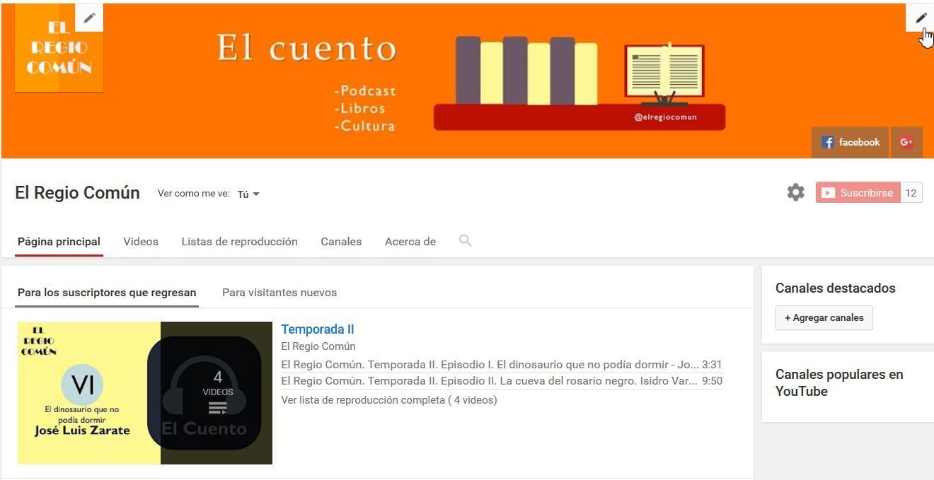 modificar diseño del canal youtube